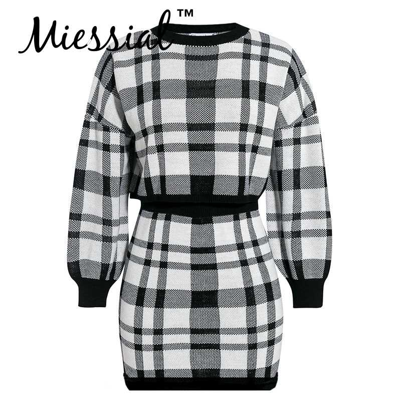 Miessial Gebreide plaid tweedelige pak trui jurk Vrouwen herfst elegante bodycon mini jurk Winter warm vintage party club jurk