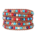 2016 Newest 1Pcs Colorful Lapis Lazuli&Mother of Pearl Beads Mixed Multilayer Handmade 5 Wrap Bracelets For Women Gifts Pulsera