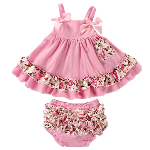 2pcs/set Baby Clothing Set Summer Fashion Flower Newborn Baby Girl Clothes 0-24M Baby Girl Set Bow Sling T-shirt+Ruffles Pants