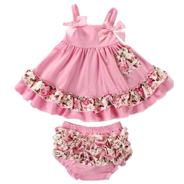 44935c7760de 2pcs set Baby Clothing Set Summer Fashion Flower Newborn Baby Girl Clothes  0-24M