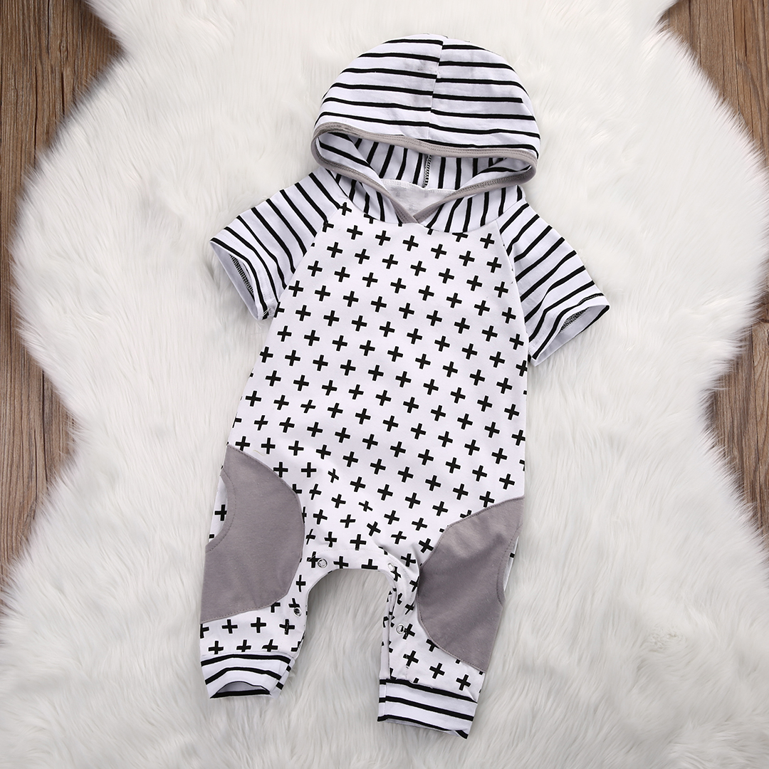 Cute Infant Baby Girls Boys Clothes Summer Spring Short Sleeve Cross Striped Hooded Romper Cross Baby Romper Jumpsuit Outfits
