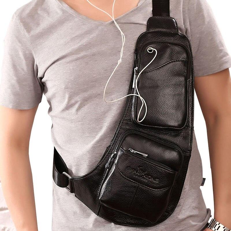 2016 Mens Vintage Genuine Leather Travel Hiking Riding Bike Messenger Shoulder Sling Chest Casual Bag
