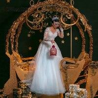 Vestidos De Noiva 2019 элегантное бальное платье с длинным рукавом свадебное платье Тюль Аппликации принцесса кружево Свадебные платья