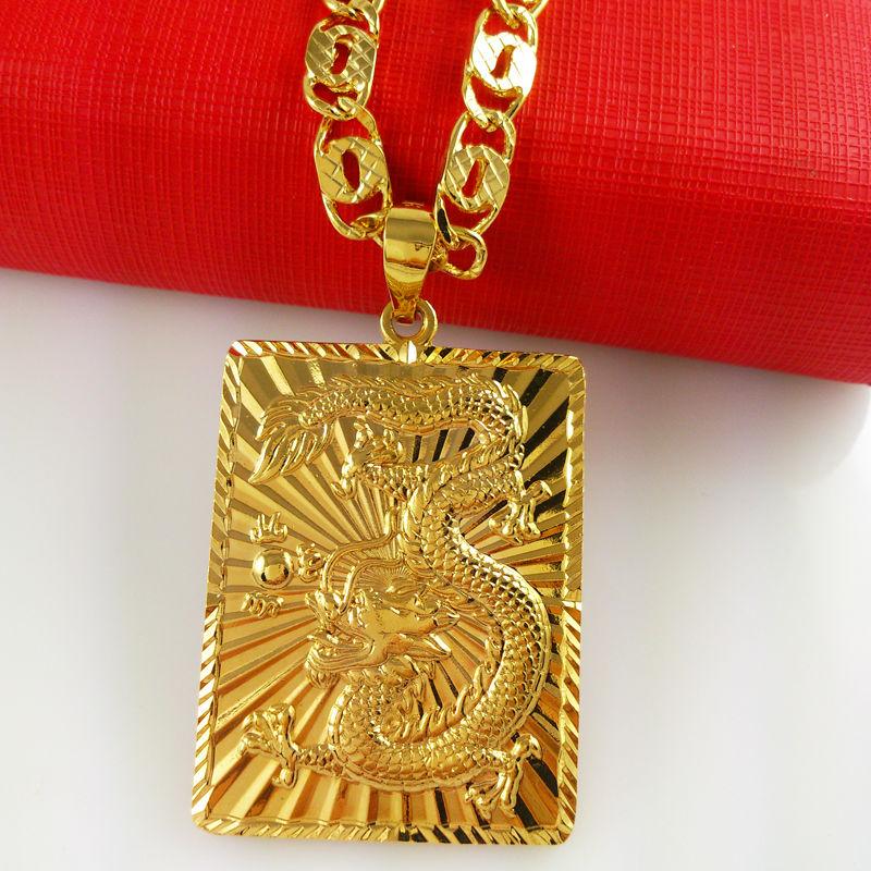 Hot Sale Vacuum Plating 24K Gold Color Pendant Necklace Men fine