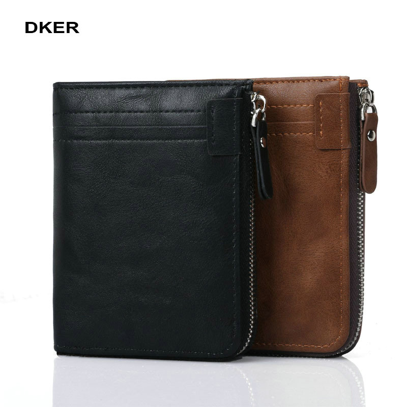 Fashion New Men Wallets PU Leather Short Coin Purse Small Wallet Men's Purse Zipper Coin Pocket Card Holder