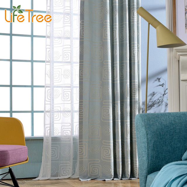 Square Embroidered Linen Curtains For Bedroom Modern Living Room Voile Curtain Window Screen Custom Made