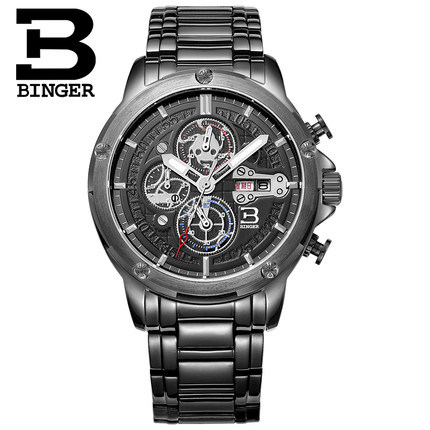 2016 Binger New Men Watches Leather Strap Analog Display Quartz Watch Mens Luxury Brand Watch Fashion