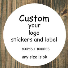 100 шт наклейки на заказ/свадебные наклейки с принтом логотипа, прозрачные, прозрачные, клейкие, круглые этикетки, Подарочные бирки, вечерние, бумажные украшения