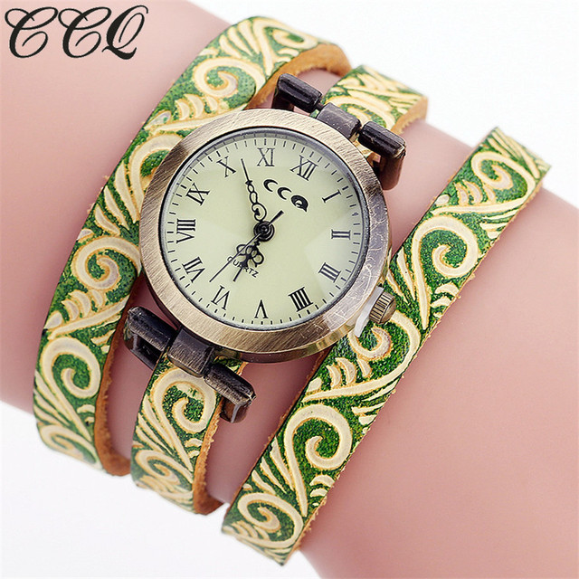 CCQ Brand Fashion Vintage Cow Leather Bracelet Watch Women Wrist Watch Casual Lu
