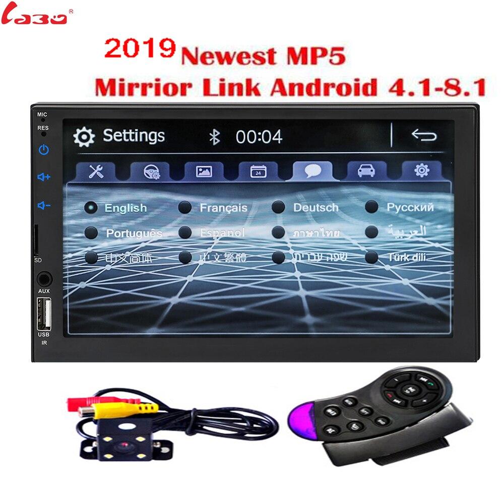 2019 New 7 HD Car Radio Mirror Link Android Autoradio for subwoofer Bluetooth handsfree USB DVR MIC Rearview Camera 2 Din Radio