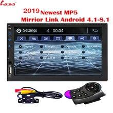 """2019 Nuovo 7 """"HD Car Radio Specchio Link Android Autoradio per il subwoofer Bluetooth vivavoce USB DVR MIC Macchina Fotografica di Rearview 2 Din Radio"""