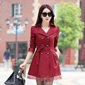 Женщины Пальто 2017 Корейский Плюс Размер Кружева Тонкий Двубортные Пальто Зимы Женщин Верхняя Одежда Clothing 9 цветов MZ802