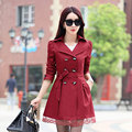 Women Trench Coat 2017 Korean Plus Size Lace Slim Double-Breasted Trench Coats Women Winter Outwear Clothing 9 colors  MZ802