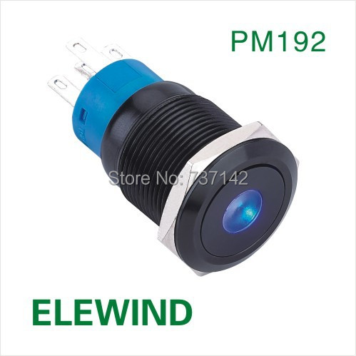 ELEWIND 19mm black aluminum Dot illuminated Latching push button switch(PM192F-11ZD/B/12V/A)
