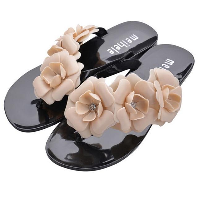 dff049cbb64141 2015 Hot Sale 5 Color Brand Design Women Jelly Sandals Flower Flip Flops  Ladies Slippers Summer Style Flat Soft Shoes SW377