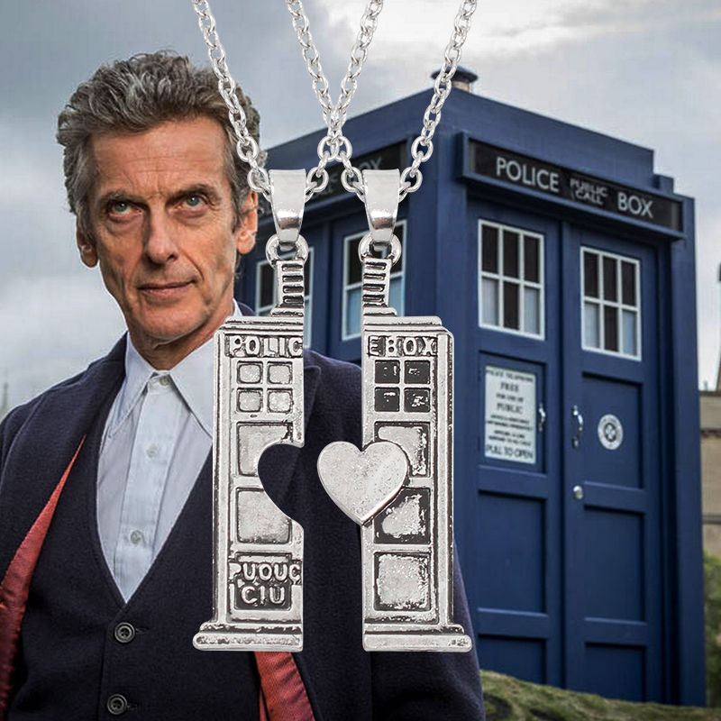 Hot Movie Doctor Who TARDIS Phone Booth Pendant Necklace Unisex Vintage Doc. Who Heart Lovers House Necklaces & Pendants line art