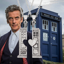 Doctor Who TARDIS Phone Booth Double Heart Couple Necklace For Lovers House Pendant