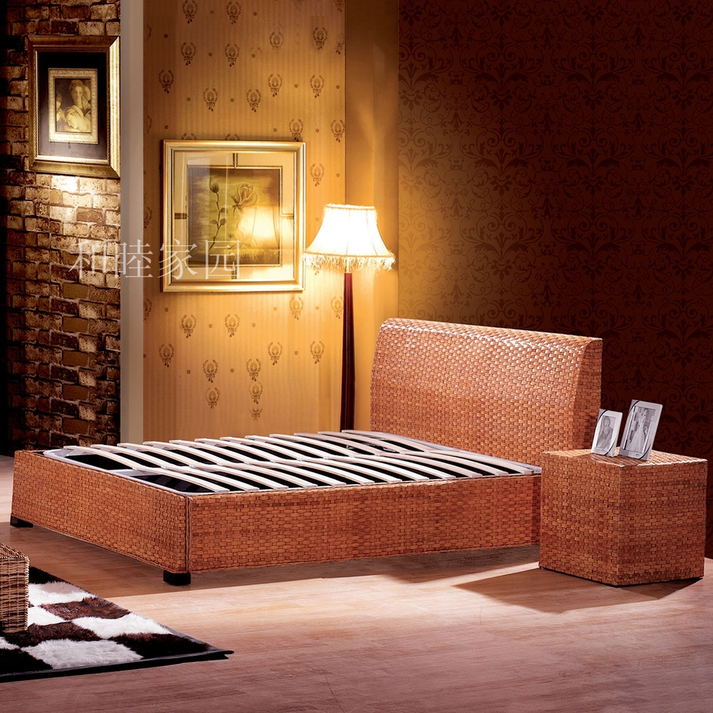 The New Special Factory Direct Rattan Furniture Rattan Bed Bedroom