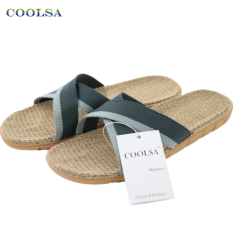 Hot New Summer Men Hør Flip Flop Canvas Linned Ikke-Slip Designer Flat Sandaler Hjem Tøfler Man Fashion Slides Casual Straw Shoe