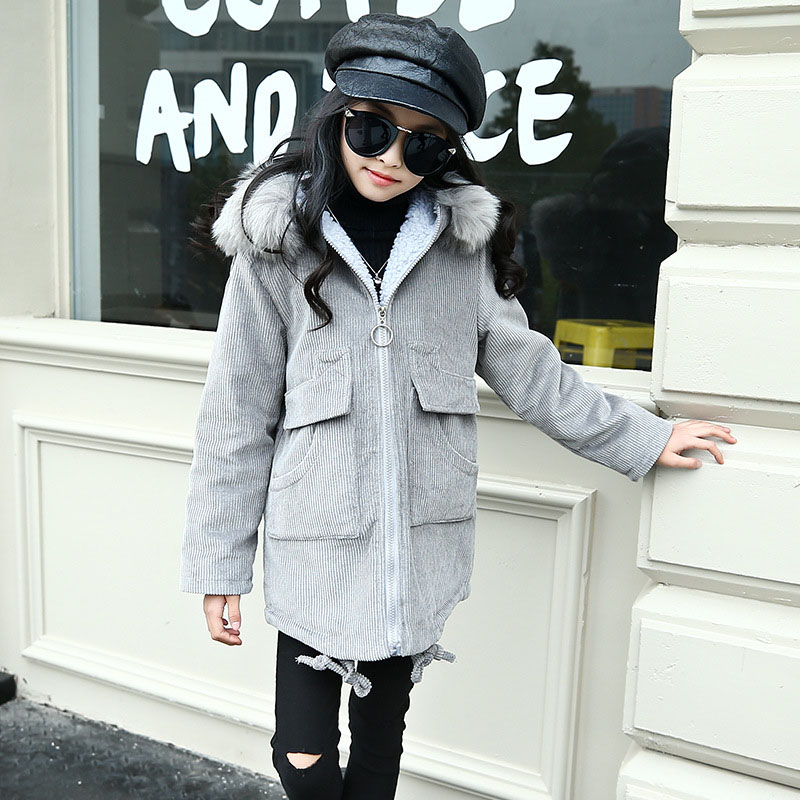 Children Winter Corduroy Coat Girls Thickened Long Fur Jacket Girl 6 8 10 12 14 Hooded Kids Outwear Fashion Clothes a15 girls jackets winter 2017 long warm duck down jacket for girl children outerwear jacket coats big girl clothes 10 12 14 year
