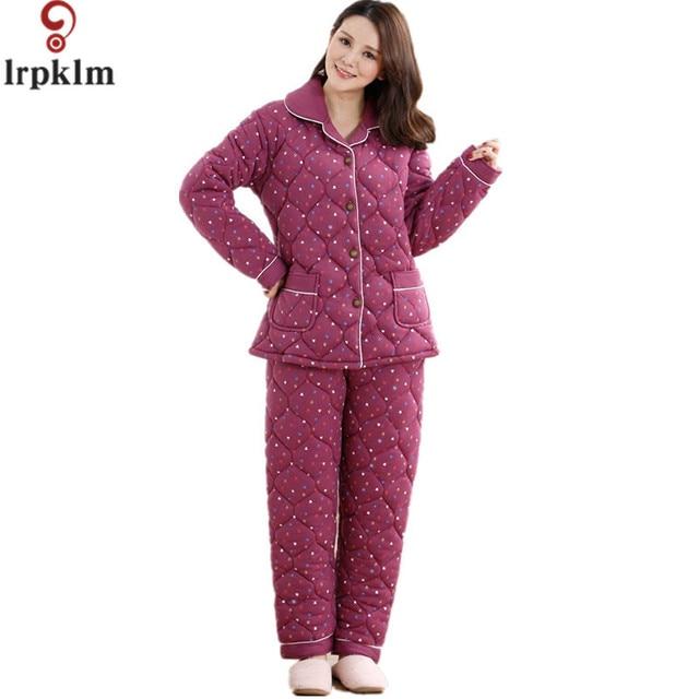 f39ee17e9892ba US $105.5 |Neue Ankunft Frauen Winter Pyjamas Sets Supper Weichkorallen  Fleece schlafanzug Für Winter Gesteppte Mantel Und Hose Homewear XXXL SY478  ...