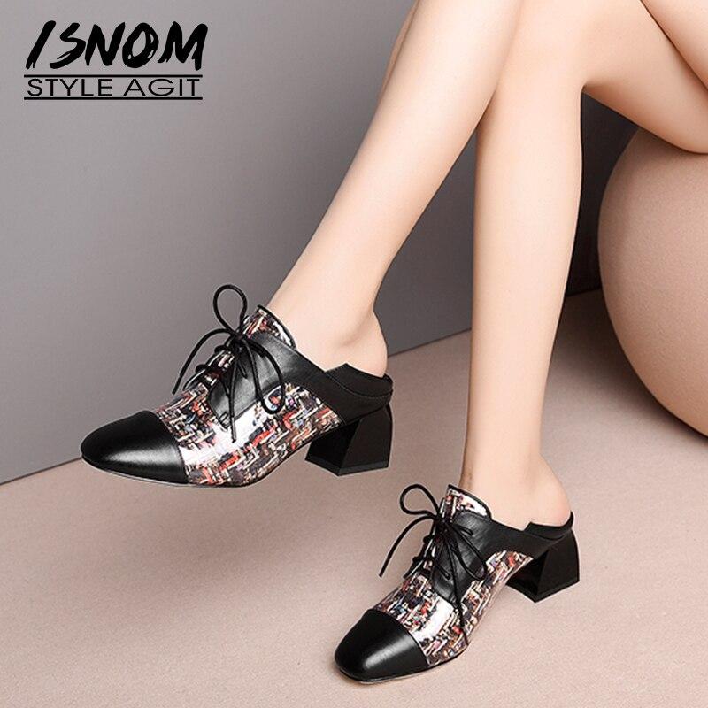 ISNOM cuir femmes pompes à lacets bout carré chaussures épais talons hauts imprimé Transparent femme chaussures mode Mules chaussures femme