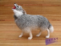 small size creative simulaiton wolf toy resin&fur gray wolf model doll gift about 23x8x20cm c245
