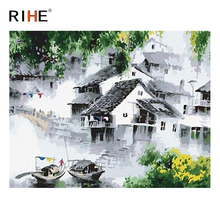 RIHE Chinese Style Town Diy Painting By Numbers Abstract Boat Oil On Canvas Cuadros Decoracion Acrylic Wall Art Picture