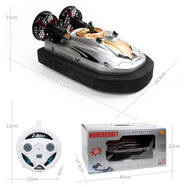 Envío libre ht2876a 2.4g 1:10 anfibio amortiguador de aire barco rc barco diy yate aerodeslizador de radio control eléctrico de juguete de regalo