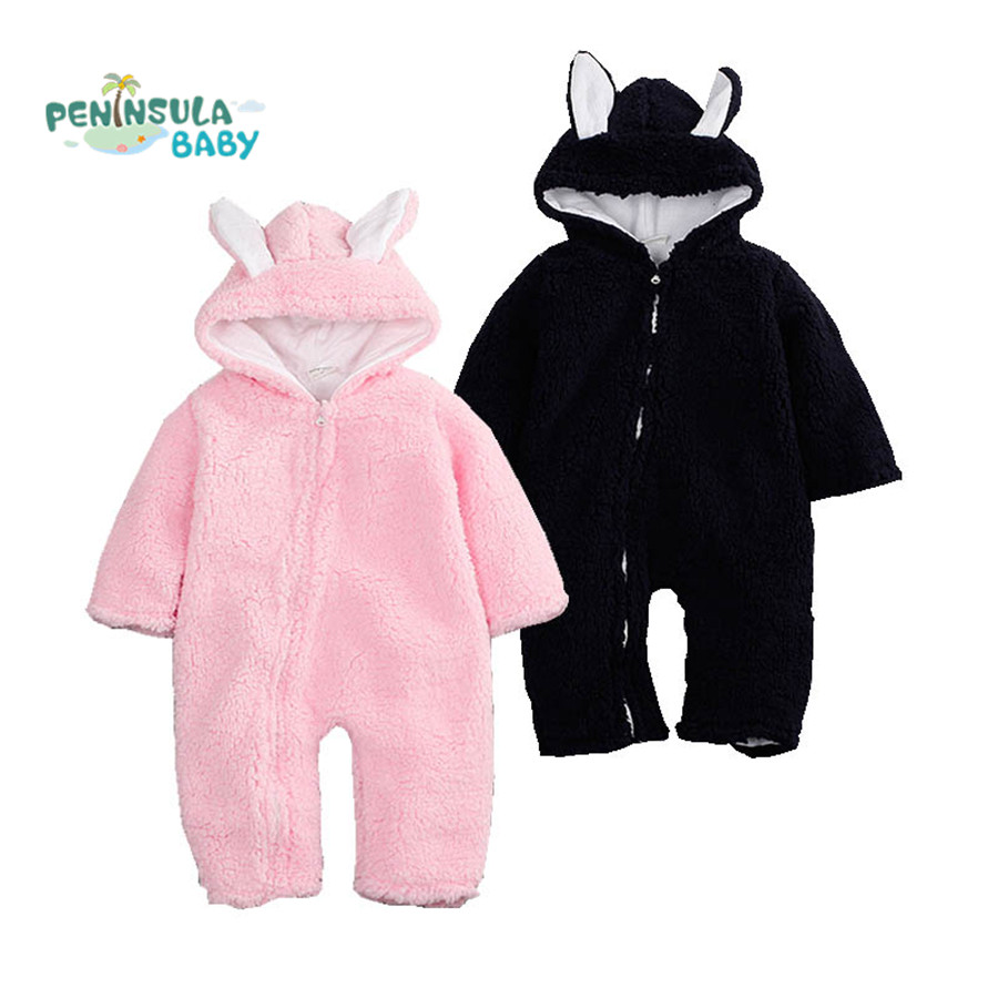 Winter Newborn Baby Romper Infant Girl Boy Clothing Cute Ears Hooded Thick Fleece Jumpsuit Outfits Clothes Babies Outwear newborn baby clothes winter long sleeves with feet baby boy girl clothes babies overalls ropa de bebe infant product baby romper