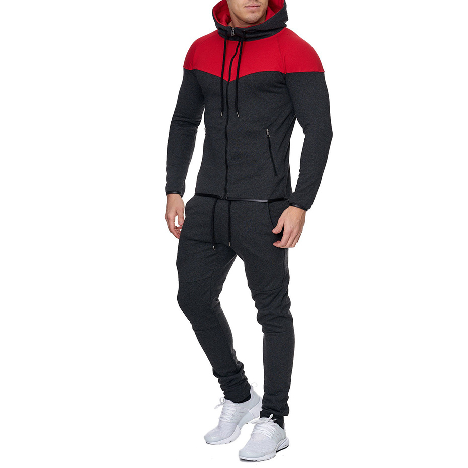 ZOGAA Mens Track Suit Casual 2 Piece Set Fashion Color Block Hooded Sportswear Sweatsuit For Male Sportsuit Mens Tracksuit