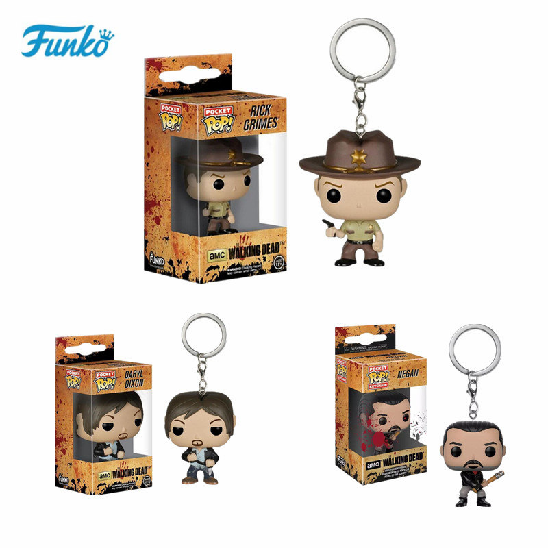 Funko Pop The Walking Dead Theme Keychain Character Negan Action Figure Key Rings Funny Toys Vinyl Doll For Child Birthday Gift