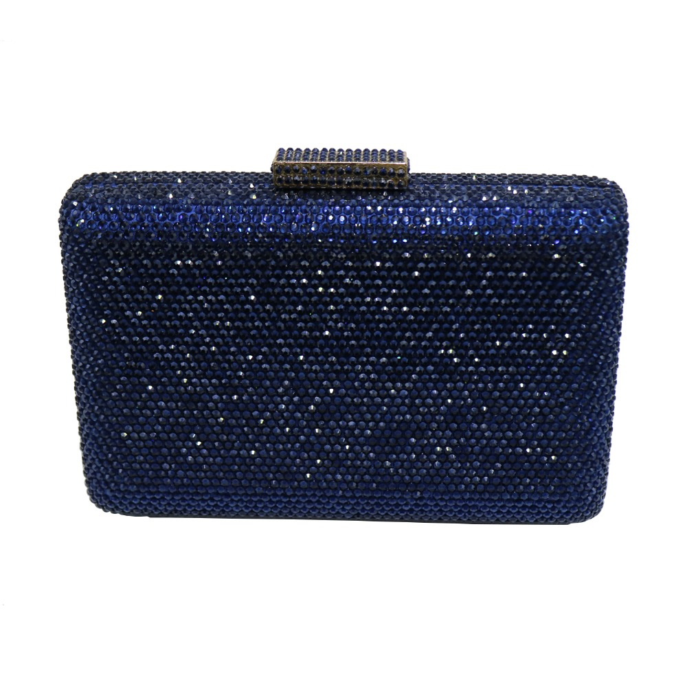 Pochette rigide noire sacs à main de soirée avec strass sacs de soirée en cristal et pochettes - 5