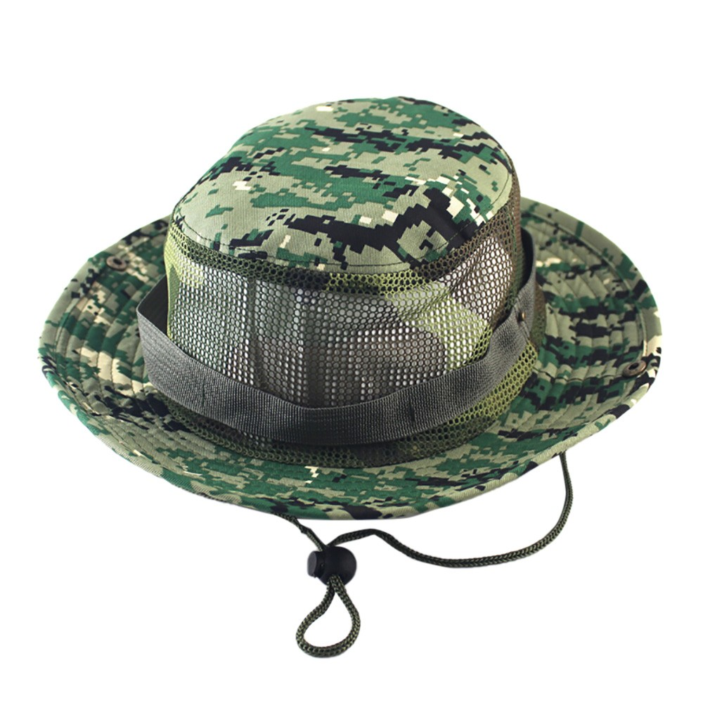 5bcc315de80e7 Adjustable Camouflage Outdoor Camping Climbing Cap Men Women Fishing Bucket  Hat Boonie Nepalese Cap Brim Military Army GN  FM28