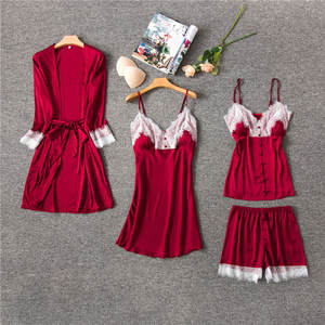 Satin Women 4PCS Sleepwear Sexy V-Neck Cami+Shorts+Nighty+Robe Home Wear Casual Pajama Pijama Set Lace Kimono Bath Gown M-XL