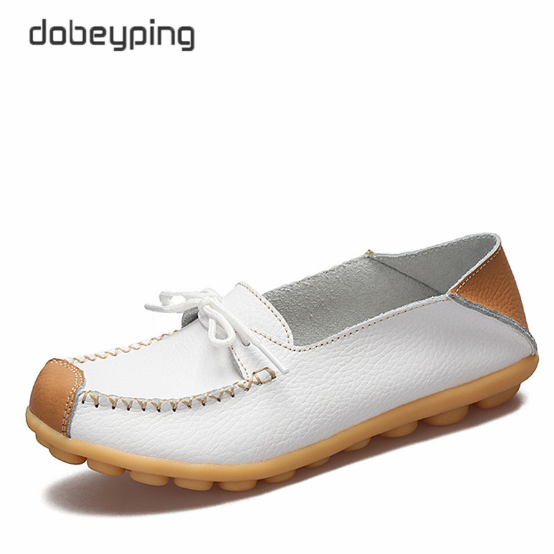 Shoes Women 2017 Genuine Leather Women's Loafers Slip On Female Flat Shoe Lady Casual Driving Shoes Mother Boat Shoe Size 34-42