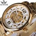 Sewor marca top de luxo relógio de ouro dos homens de negócios strap mecânico automático de esqueleto steampunk relógios caixa de aço inoxidável 2017