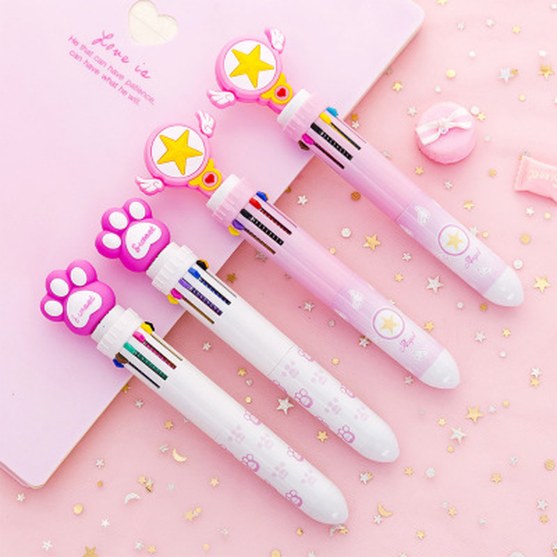 1pcs Unicorn Pen 10 Color Pen Series Cute Stationery Novelty Student Ballpoint Pen Flamingo Cute Pens Kawaii School Supplies