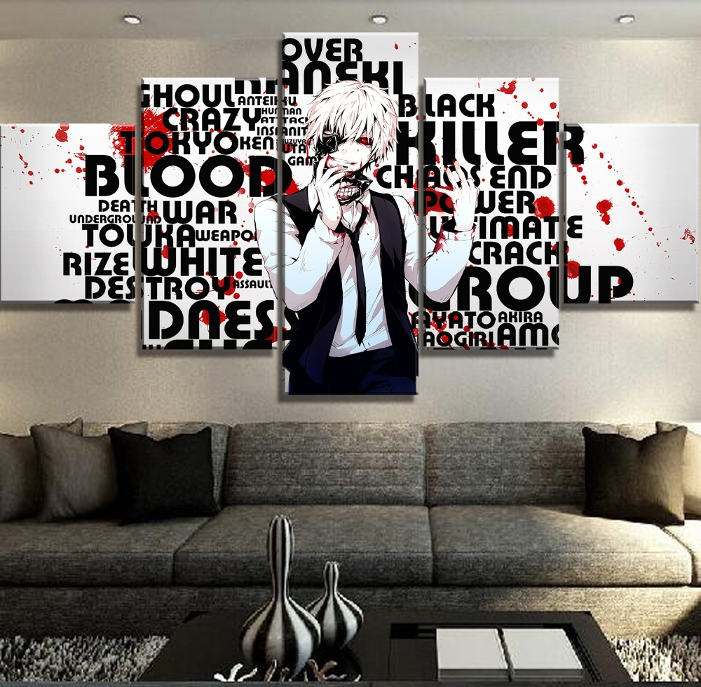 New 5 Pieces Canvas Art Tokyo Ghoul Anime Poster Cuadros Decoracion Paintings on Canvas Wall Art for Home Decorations Wall Decor in Painting Calligraphy from Home Garden