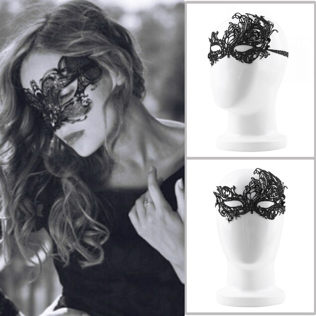 Dress Lace-Mask Women Costumes-Accessories Masquerade Fancy Halloween Black Sexy Ball