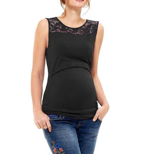 Summer 2020 Maternity Clothes Breastfeeding Clothes Pregnant Clothes Women Sleeveless Solid Lace Maternity Nursing Tops #BL1