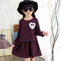 New 2017 Spring Girls Dresses Fashion Children Long Sleeves Cotton England Style Ball Gown Plaid Flowers O-neck Kids Clothes Hot