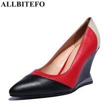 Allbitefo/Модная брендовая натуральная кожа с острым носком смешанные цвета на танкетке женские туфли-лодочки модные пикантные Высокое качество Женская обувь для вечеринок
