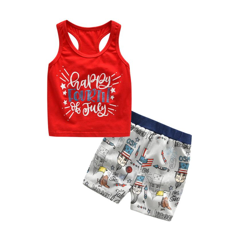 comfortable baby girl two piece set Kids Girls Boys 4th Of July Vest Tops+Shorts summer short set Outfits Clothes boutique