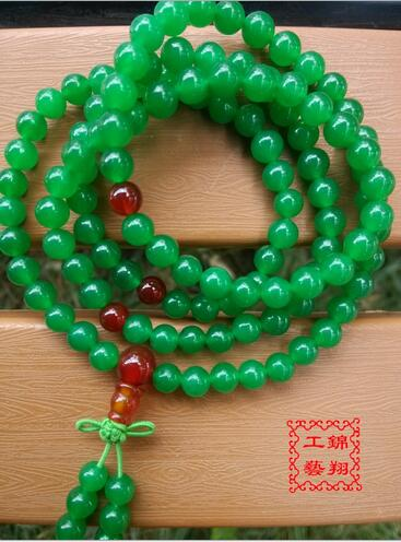 Lovers style Chinese style green round bead collocation red round bead bracelet 6 mm108 beads hand string charm men and women
