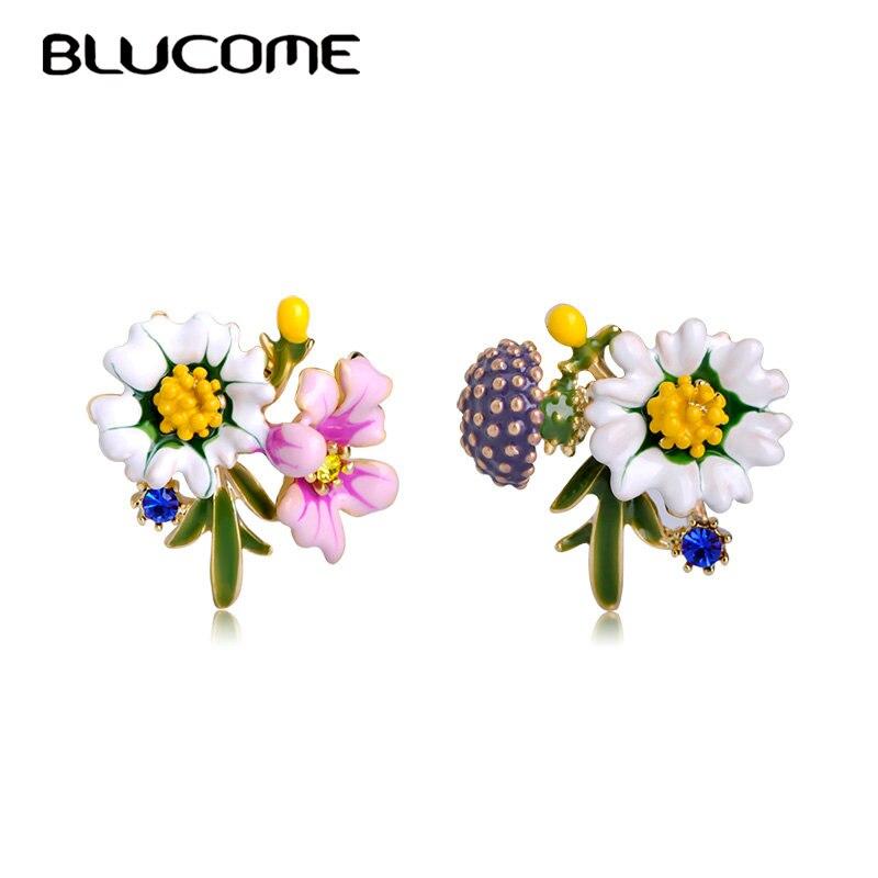Blucome Fashion New Style Small Stud Earrings Yellow Enamel Chrysanthemum Mushroom Shape Earrings Women Girl Holiday Accessories