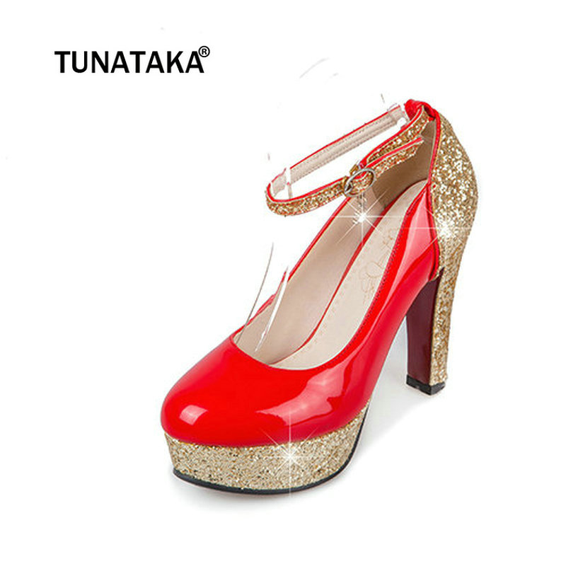 Women Platform Chunky High Heel Pumps Fashion Buckle Round Toe Party  Wedding Shoes White Black Red-in Women s Pumps from Shoes on Aliexpress.com   255276b1e7a9