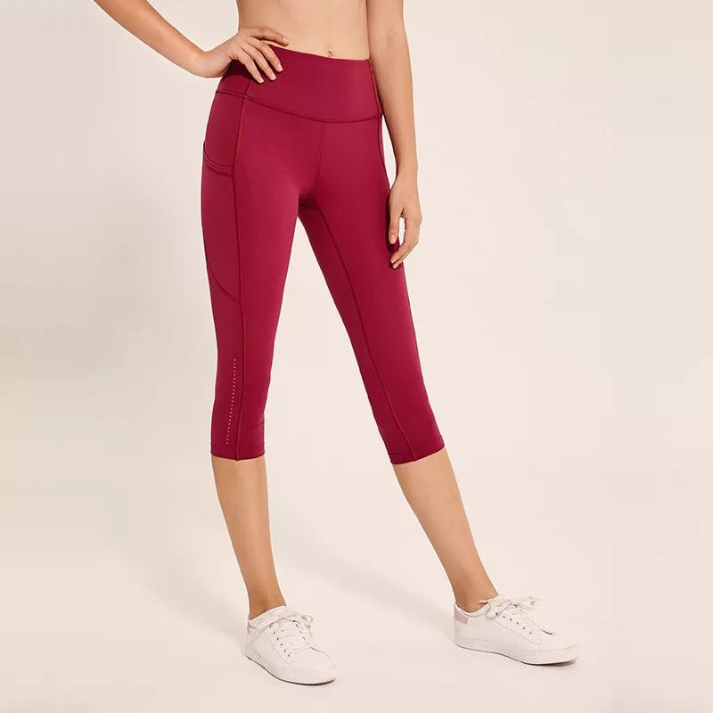 Zhuohe pantalons de sport pour femmes taille haute Push Up Capri pantalons Yoga Leggings poches Gym Fitness mollet-longueur serré entraînement course