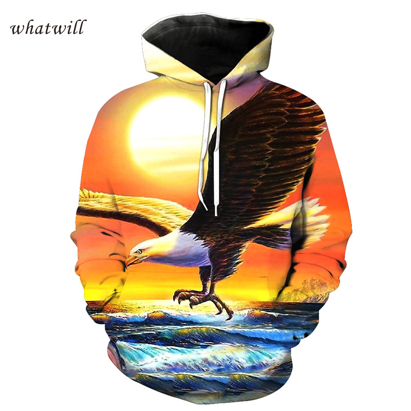 3d eagle fashion mens hoodies casual sweatshirts printed hoody sweat homme hip hop sudadera hombre