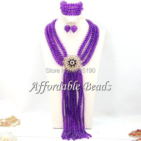 801c3df95551a الأرجواني الأفريقي مجوهرات الزفاف مجموعة فريدة النيجيري الخرز الجملة  اليدوية البند BN168